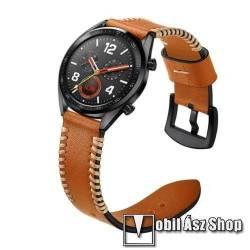 Valódi bőr okosóra szíj - 22mm széles, varrás mintás - BARNA - HUAWEI Watch GT / HUAWEI Watch 2 Pro / Honor Watch Magic / HUAWEI Watch GT 2 46mm