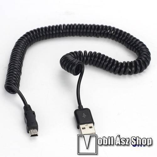 Airis T920 Adatátviteli kábel / USB töltő - miniUSB, nyújthatatlan hosszúság: 38cm, maxiumum 5m-ig nyújtható spirálkábel - FEKETE