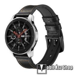 Okosóra szíj - FEKETE - valódi bőr, szilikon belső - 80mm + 120mm hosszú, 22mm széles - HUAWEI Watch GT / HUAWEI Watch Magic / Watch GT 2 46mm
