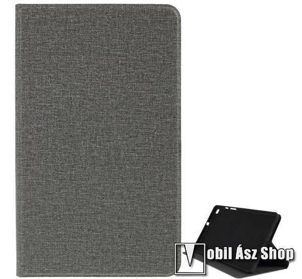 Notesz tok / mappa tok - SZÜRKE - textil hatás, asztali tartó funkciós, oldalra nyíló, szilikon belső - SAMSUNG SM-T295 Galaxy Tab A 8.0 LTE (2019) / SAMSUNG SM-T290 Galaxy Tab A 8.0 Wi-Fi (2019)