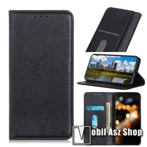 Notesz tok / flip tok - FEKETE - hasított bőr, asztali tartó funkciós, oldalra nyíló, rejtett mágneses záródás, bankkártya tartó zseb, szilikon belső - Xiaomi Redmi K30 / Xiaomi Redmi K30 5G / Xiaomi Poco X2 / Redmi K30i 5G