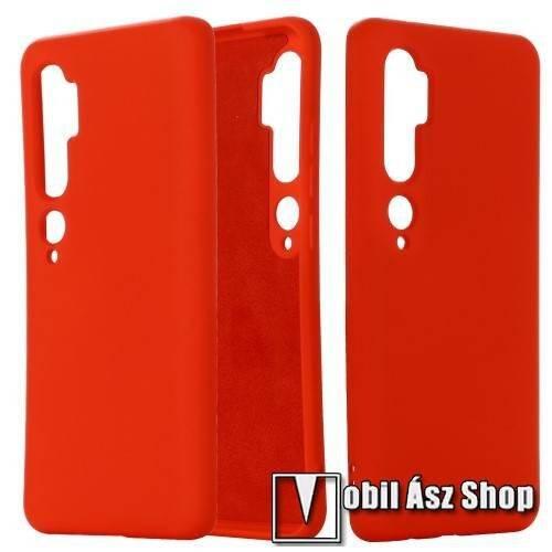 Szilikon védő tok / hátlap - mikroszálas szövettel bevont belsővel - PIROS - Xiaomi Mi Note 10 / Xiaomi Mi Note 10 Pro / Xiaomi Mi CC9 Pro
