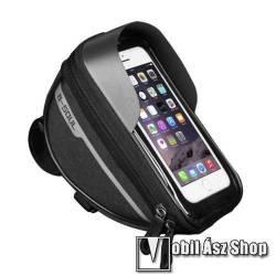 UNIVERZÁLIS biciklis / kerékpáros tartó konzol mobiltelefon készülékekhez - cseppálló védő tokos kialakítás, cipzár, kormányra rögzíthető, 185 x 95 x 85mm, 6.5-os készülékekhez  - FEKETE