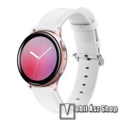 Valódi bőr okosóra szíj - FEHÉR - 75mm + 119mm hosszú, 20mm széles, max 220mm-es csuklóra - SAMSUNG Galaxy Watch 42mm / Xiaomi Amazfit GTS / SAMSUNG Gear S2 / HUAWEI Watch GT 2 42mm / Galaxy Watch Active / Active 2