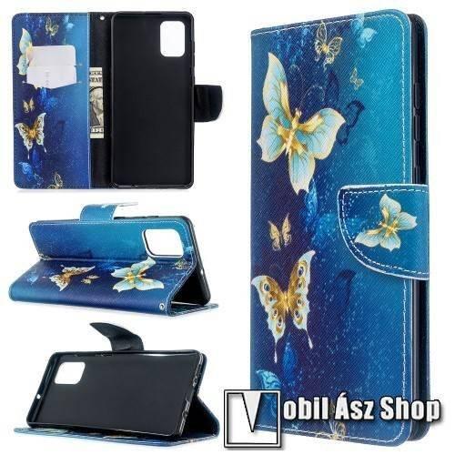 Notesz / flip mappa tok - PILLANGÓ MINTÁS - asztali tartó funkciós, oldalra nyíló, rejtett mágneses záródás, bankkártyatartó - SAMSUNG Galaxy A71 (SM-A715F)