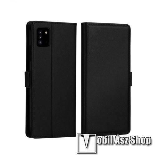 DZGOGO MILO slim design notesz / mappa tok - FEKETE - oldalra nyíló flip cover, asztali tartó funkció, szilikon belső, mágneses záródás - SAMSUNG Galaxy A51 (SM-A515F) - GYÁRI