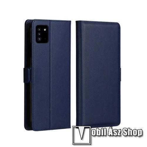 DZGOGO MILO slim design notesz / mappa tok - SÖTÉTKÉK - oldalra nyíló flip cover, asztali tartó funkció, szilikon belső, mágneses záródás - SAMSUNG Galaxy A51 (SM-A515F) - GYÁRI
