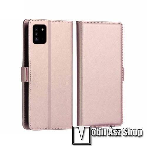 DZGOGO MILO slim design notesz / mappa tok - ROSE GOLD - oldalra nyíló flip cover, asztali tartó funkció, szilikon belső, mágneses záródás - SAMSUNG Galaxy A51 (SM-A515F) - GYÁRI