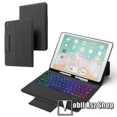 Notesz / mappa tok - FEKETE - oldalra nyíló, mágneses záródás, asztali tartó funkció, 500mAh beépített akkumulátor, RGB háttérvilágítás, kivehető bluetooth billentyűzet (ANGOL KIOSZTÁSÚ!), szilikon belső - APPLE iPad 10.2 (7th Generation) (2019) / iPad 10