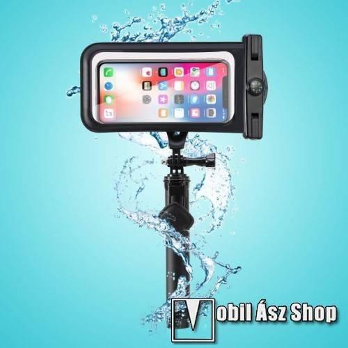 Teleszkópos selfie bot / vízhatlan / vízálló tok - iránytű, nyakpánt, BLUETOOTH KIOLDÓ GOMB, forgatható, IPX8 20 méterig vízálló, A TÁVIRÁNYÍTÓ NEM VÍZÁLLÓ, 160 x 80mm - FEKETE