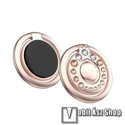 KINGXBAR fém ujjtámasz, gyűrű tartó - Biztos fogás készülékéhez Swarovski kristályokkal kirakott - ROSE GOLD