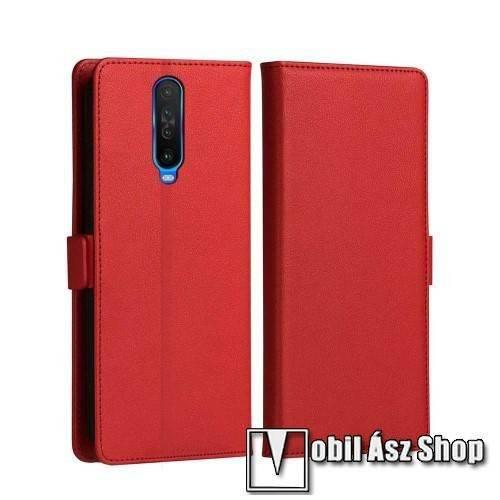 DZGOGO MILO slim design notesz / mappa tok - PIROS - oldalra nyíló flip cover, asztali tartó funkció, szilikon belső, mágneses záródás - Xiaomi Redmi K30 / Xiaomi Redmi K30 5G / Xiaomi Poco X2 / Redmi K30i 5G - GYÁRI