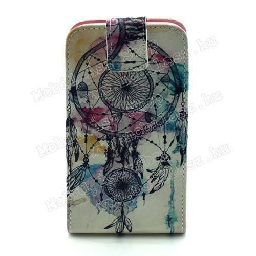 FLIP tok - ÁLOMCSAPDA MINTÁS - lefelé nyíló, rejtett mágneses záródás, szilikonos belső - SAMSUNG SM-G920 Galaxy S6
