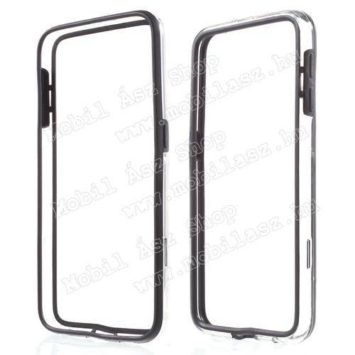 Szilikon védő keret - BUMPER - FEKETE / ÁTLÁTSZÓ - SAMSUNG SM-G920 Galaxy S6