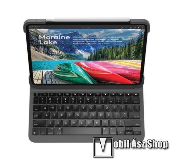 Logitech Slim Folio notesz / mappa tok - FEKETE - oldalra nyíló, mágneses záródás, asztali tartó funkció, bluetooth billentyűzet (ANGOL KIOSZTÁSÚ!) - APPLE iPad Pro 11 (2018) - 920-009161 - GYÁRI