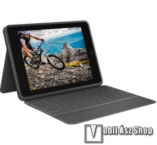 Logitech Rugged Folio notesz / mappa tok - FEKETE - oldalra nyíló, mágneses záródás, cseppálló, ceruzatartó, asztali tartó funkció, szilikon belső, bluetooth billentyűzet (ANGOL KIOSZTÁSÚ!) - ERŐS VÉDELEM - APPLE iPad 10.2 (7th Generation) (2019) / iPad 1