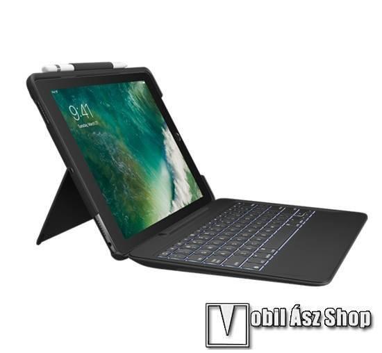 Logitech Slim Combo notesz / mappa tok - FEKETE - oldalra nyíló, asztali tartó funkció, ceruzatartó, bluetooth billentyűzet (ANGOL KIOSZTÁSÚ!) - APPLE iPad Pro 10.5 (2017) / APPLE iPad Air (2019) - 920-008448 - GYÁRI