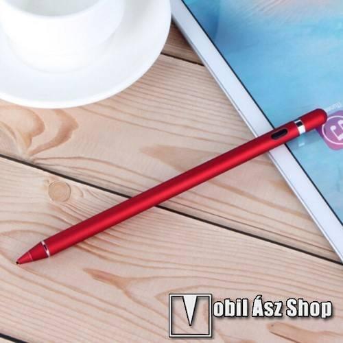 Érintőképernyő ceruza - kapacitív kijelzőkhöz, aktív érzékelő technológia, beépített újratölthető akkumulátorral, kézírásra, rajzolásra is alkalmas, 9mm x 180mm - PIROS