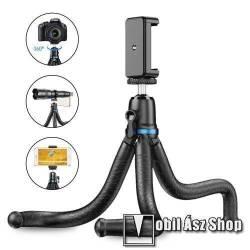 APEXEL APL-JJ10 TRIPOD állvány / selfie bot - 65-87mm-es bölcsővel, 360 fokban forgatható, flexibilis lábakkal, univerzális 1/4