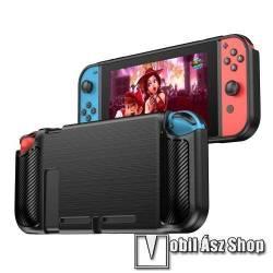 Szilikon védő tok / hátlap - FEKETE  - karbon mintás - Nintendo Switch