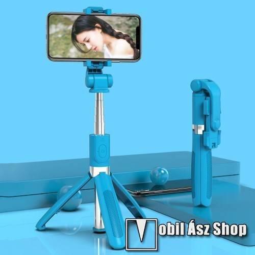 SELFIESHOW UNIVERZÁLIS teleszkópos selfie bot és tripod állvány - BLUETOOTH KIOLDÓVAL, 360 fokban forgatható, max 70cm hosszú nyél - KÉK