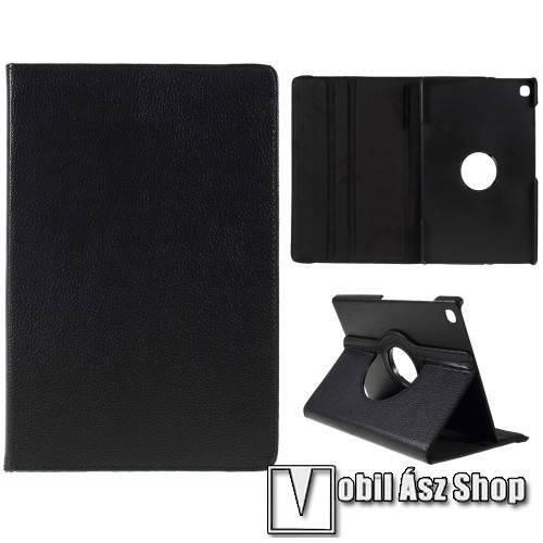 Notesz tok / mappa tok - FEKETE - gumis záródás, asztali tartó funkcióval, 360°-ban elforgatható, műanyag belső - SAMSUNG SM-P610 Galaxy Tab S6 Lite (Wi-Fi) / SAMSUNG SM-P615 Galaxy Tab S6 Lite (LTE)