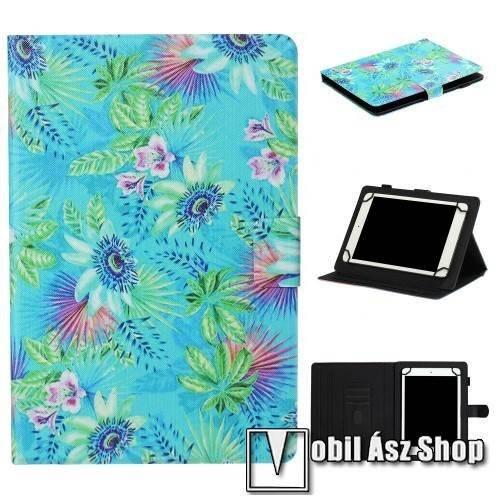 UNIVERZÁLIS notesz / mappa tablet PC tok - VIRÁG MINTÁS - álló, bőr, mágneses, asztali tartó funkciós, 8 készülékekhez - Belső méret: 220 x 165 x 20mm
