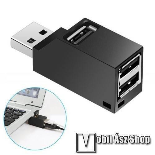 Apple iPhone 6s Plus Mini hordozható 3 portos USB hub / elosztó - USB 2.0 port 480Mbps, méret: 55 x 18 x 24 mm - FEKETE