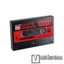 Remax Retro Tape vésztöltő töltő / hordozható töltő - 10000mAh Li-Polymer, Type-C; Lightning és microUSB bemenet, 2x USB kimenet 5V-2.1A (max.), LCD kijelző, kazetta formájú, tokkal, 115 x 75,5 x 15,8 mm - FEKETE - RPP-138 - GYÁRI