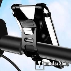 USAMS US-ZJ053 UNIVERZÁLIS motoros / kerékpáros tartó konzol mobiltelefon készülékekhez - szilikon, kormányra rögzíthető, 4-6-os készülékekhez - FEKETE - GYÁRI