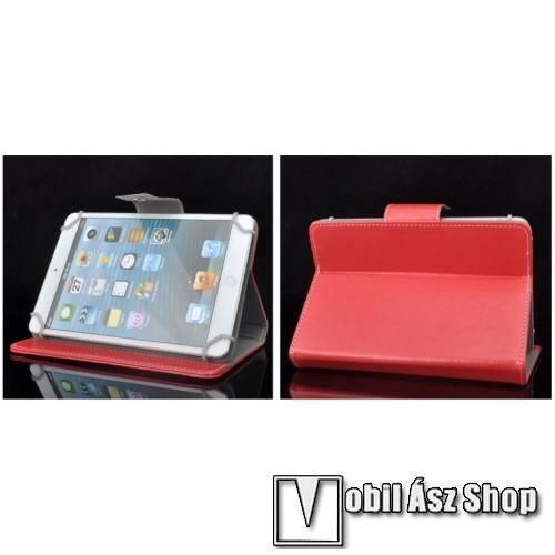 UNIVERZÁLIS notesz / mappa tablet PC tok - PIROS - álló, bőr, mágneses záródás, asztali tartó funkciós, 10