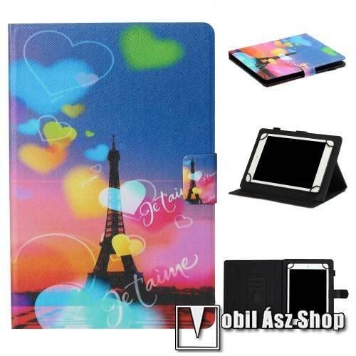 UNIVERZÁLIS notesz / mappa tablet PC tok - EIFFEL TORONY MINTÁS - álló, bőr, mágneses, asztali tartó funkciós, 10-os készülékekhez - Belső méret: 245 x 170 x 20mm