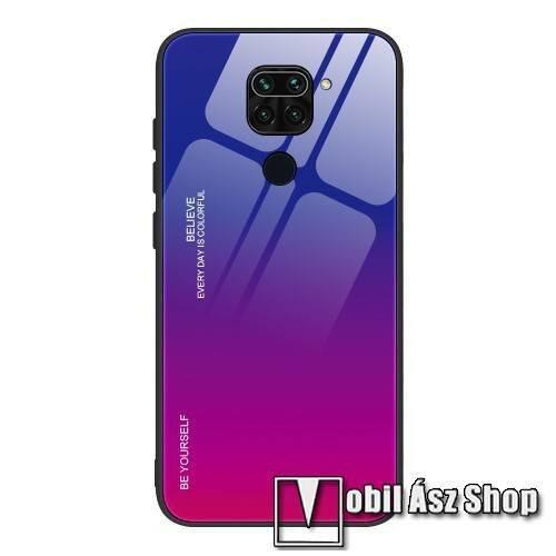 GLASS CASE műanyag védő tok / hátlap védő edzett üveg - KÉK / MAGENTA - szilikon szegély - Xiaomi Redmi Note 9 / Xiaomi Redmi 10X 4G