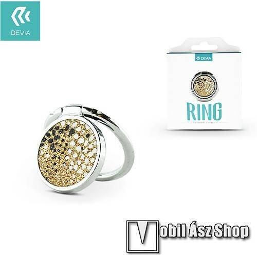 DEVIA fém ujjtámasz, gyűrű tartó - Biztos fogás készülékéhez, strasszkővel díszített - EZÜST / ARANY