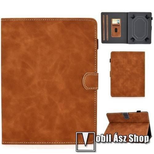 UNIVERZÁLIS notesz / mappa tablet PC tok - BARNA - álló, bőr, mágneses, asztali tartó funkciós, 10