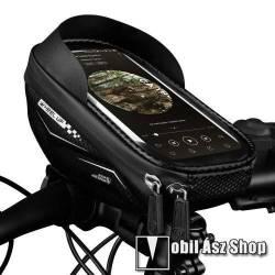 WHEEL UP UNIVERZÁLIS biciklis / kerékpáros tartó konzol mobiltelefon készülékekhez - cseppálló védő tokos kialakítás, cipzár, tépőzáras, napellenző, belső méret: 175mm x 80mm - FEKETE