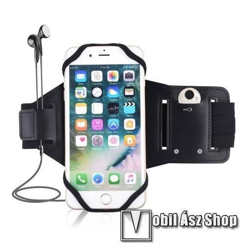 Oppo Reno6 Pro 5G (Snapdragon) (CPH2247) UNIVERZÁLIS Sport tok / karpánt - szilikon telefontartó rész, beépített kulcstartó zseb, fülhallgató nyílás, min 115 x 50mm, max 180 x 95mm készülékekhez ajánlott - FEKETE