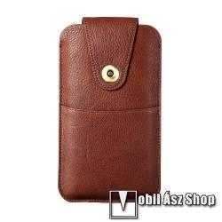 UNIVERZÁLIS álló bőrtok - valódi bőr, patent záródás, övre fűzhető, töltőnyílás, bankkártyatartó zseb, 170 x 90mm - BARNA
