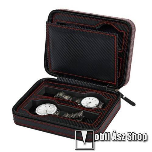 UNIVERZÁLIS Óratartó doboz - FEKETE - KARBON MINTÁS - PU bőr, cipzár, hordozható, egyszerre 4db óra tárolására is alkalmas, méret: 180 x 140 x 60mm