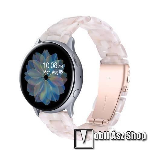 Okosóra műanyag szíj - FEHÉR / RÓZSASZÍN - pillangó csat - 192mm hosszú, 20mm széles, 145-200mm-es méretű csuklóig ajánlott - SAMSUNG Galaxy Watch 42mm / Amazfit GTS / Galaxy Watch3 41mm / HUAWEI Watch GT 2 42mm / Galaxy Watch Active / Active 2