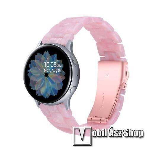 Okosóra műanyag szíj - RÓZSASZÍN - pillangó csat - 192mm hosszú, 20mm széles, 145-200mm-es méretű csuklóig ajánlott - SAMSUNG Galaxy Watch 42mm / Amazfit GTS / Galaxy Watch3 41mm / HUAWEI Watch GT 2 42mm / Galaxy Watch Active / Active 2