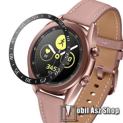 Okosóra lünetta védő alumínium - FEKETE - SAMSUNG Galaxy Watch3 41mm (SM-R855F)