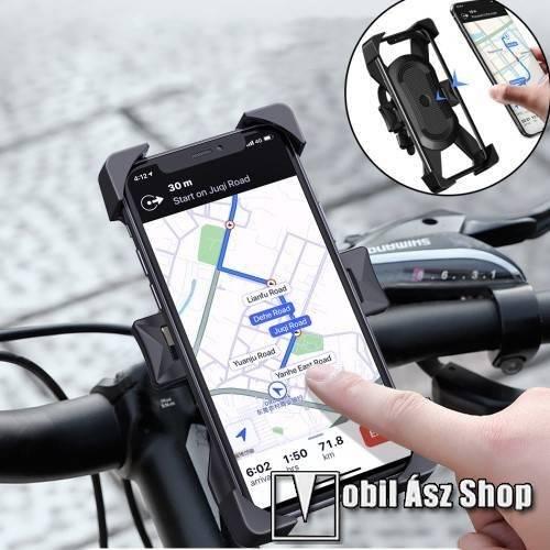 WIWU UNIVERZÁLIS telefon tartó kerékpár / biciklire rögzíthető - FEKETE - 360°-ban elforgatható, kormányra rögzíthető, 6