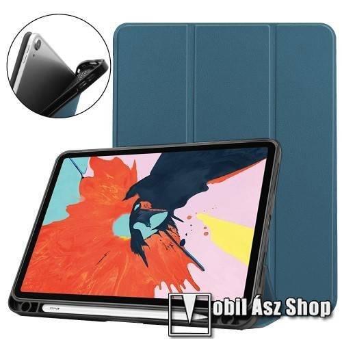 Notesz / mappa tok - ZÖLDESKÉK - oldalra nyíló flip cover, TRIFOLD asztali tartó funkciós, belső ceruzatartó, szilikon belső - APPLE iPad Air (2020) (4th generation)