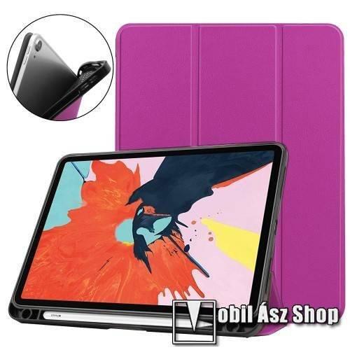 Notesz / mappa tok - LILA - oldalra nyíló flip cover, TRIFOLD asztali tartó funkciós, belső ceruzatartó, szilikon belső - APPLE iPad Air (2020) (4th generation)