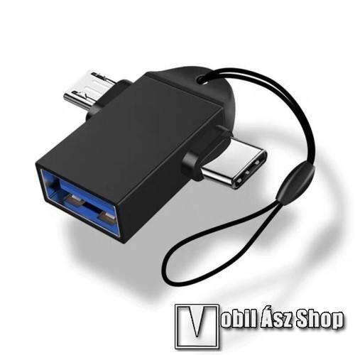 Alcatel One Touch Snap Multifunkciós 2 az 1-ben adapter USB 3.0 / Micro USB és Type-C OTG funkció - FEKETE