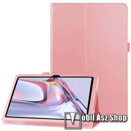 Notesz tok / mappa tok - RÓZSASZÍN - asztali tartó funkciós, oldalra nyíló, tolltartó, műbőr belső - SAMSUNG Galaxy Tab A7 10.4 (2020) (SM-T500/SM-T505)