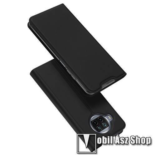 DUX DUCIS Skin Pro Series slim design notesz / mappa tok - FEKETE - asztali tartó funkciós, oldalra nyíló, rejtett mágneses záródás, bankkártyatartó zseb, szilikon belső - Xiaomi Mi 10T Lite 5G / Redmi Note 9 Pro 5G / Mi 10i 5G - GYÁRI