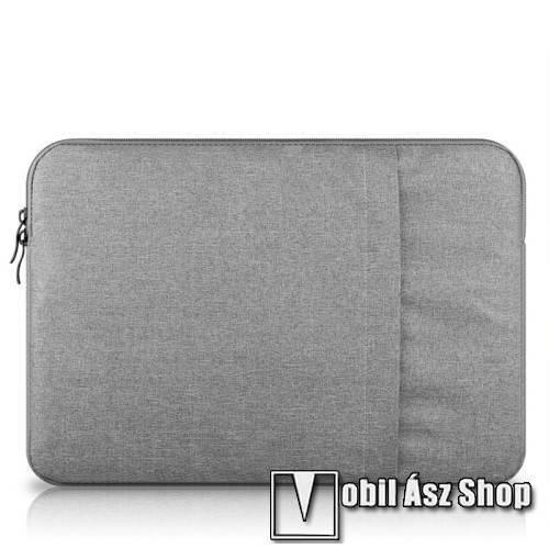 UNIVERZÁLIS Tablet / Laptop tok / táska - VILÁGOSSZÜRKE - szövet, bársony belső, 2 különálló zsebbel, ütődésálló - ERŐS VÉDELEM! - 13-os készülékekig használható, belső méret: 340 x 240mm