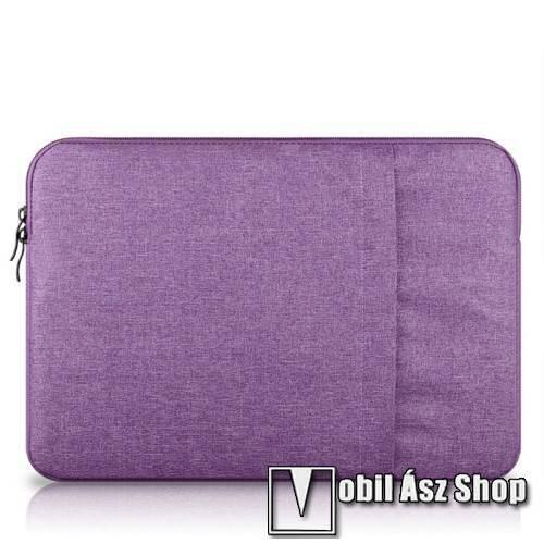 UNIVERZÁLIS Tablet / Laptop tok / táska - LILA - szövet, bársony belső, 2 különálló zsebbel, ütődésálló - ERŐS VÉDELEM! - 13-os készülékekig használható, belső méret: 340 x 240mm